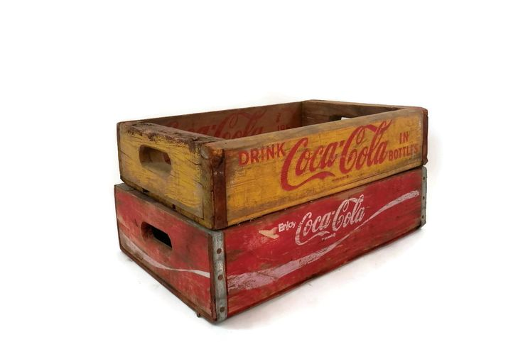 1966 Coca-Cola Crates Red and Yellow Wooden Storage Boxes