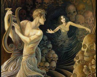 Orpheus and Eurydice Greek Mythology Mini Print ACEO ATC Altar Art