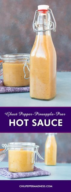 Sweet Ghost Pepper-Pineapple-Pear Hot Sauce - Make your own sweet and VERY spicy hot sauce at home with this recipe, which includes flaming ghost pepper chiles, sweet pineapple, pear, honey and seasonings. Ideal for pork, duck, or chicken.