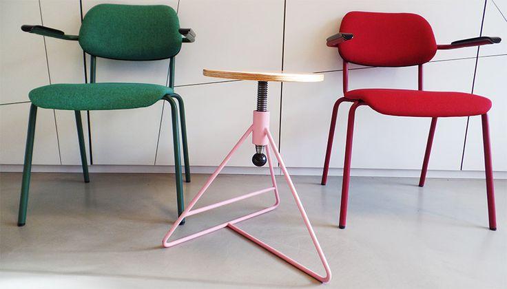 Jami stoel 4-poot en de spinner kruk, Jami chair 4 legs and the Spinner, bright colours, pink, kruk  Jami 2017, Spinner 2017 • Designer: Toine van den Heuvel  • © Lande • Photo: Martijn Verhoeven
