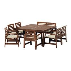 IKEA - ÄPPLARÖ, Tisch+6 Armlehnstühle+Bank/außen, Äpplarö braun las./Stegön beige, , Öffnung für Sonnenschirm in der Tischmitte.Zur Erhöhung der Haltbarkeit und damit die natürliche Holzstruktur sichtbar bleibt, wurde das Möbelstück mit mehreren Schichten halbtransparenter Holzlasur vorbehandelt.Rundum bezogen, beidseitig anwendbar und daher länger haltbar.