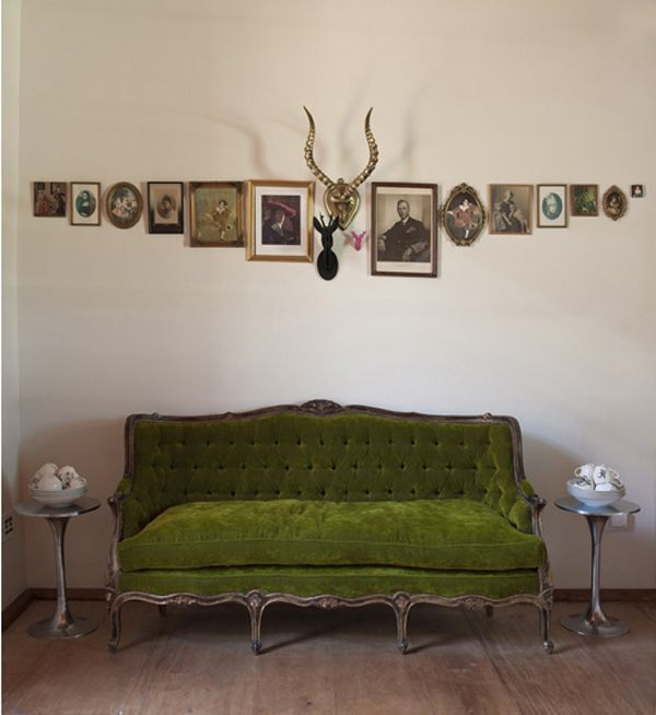 Love the alignment of the artwork and the color of the couch!
