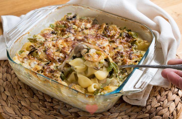 Eenpanspasta uit de oven: Pasta ovenschotel met hamblokjes, champignons en paprika-keukenliefde