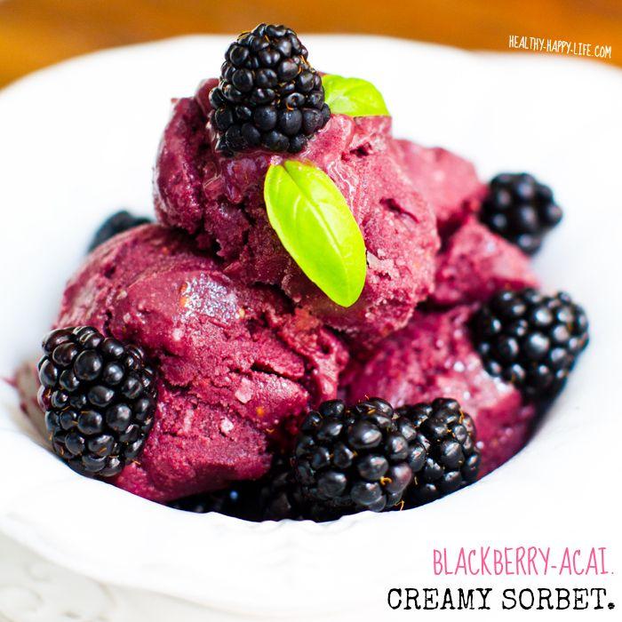 Creamy Fresh Blackberry-Acai Sorbet. Blend, Freeze, Scoop, Serve! #vegan #vitamix