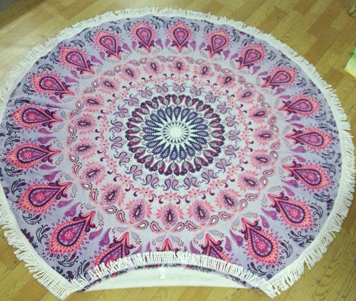 2016 New Summer Large Printed Round Beach Towels With Tassel Circle Beach Towel Serviette De Plage Size150x150cm