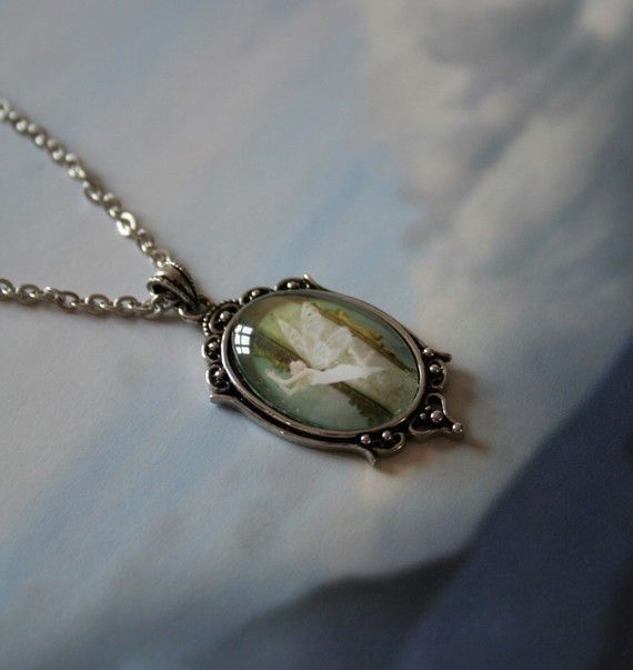 White Fairy SIGNED Cameo Antique'd Silver Pendant by Mizzdraconia, $32.00