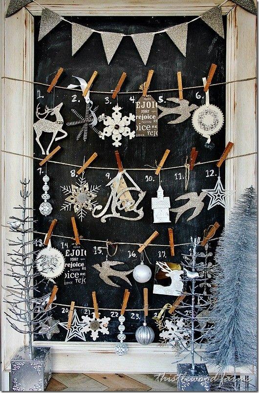 2013 Glitter Christmas Mantel Advent Calendar, Silver Christmas Decor Ideas #2013 #christmas #mantel #advent #calendar www.loveitsomuch.com