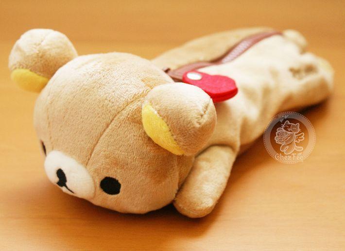 Pochettes et trousses Japonaises : Adorable trousse à stylo KAWAII en peluche - Rilakkuma - San-X authentique official - Boutique kawaii www.chezfee.com