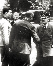 1944-Friedrich Fromm (shaking hands with Hitler), and Claus Graf Von Stauffenberg greet Hitler before the assassination attempt.