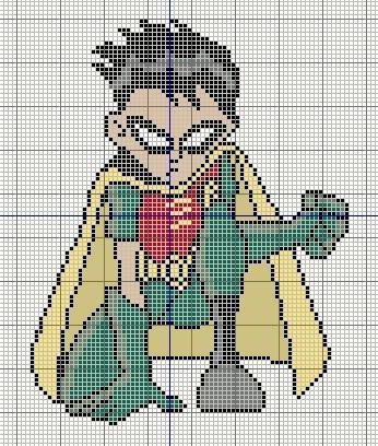 Buzy Bobbins: Robin from Teen Titans cross stitch design