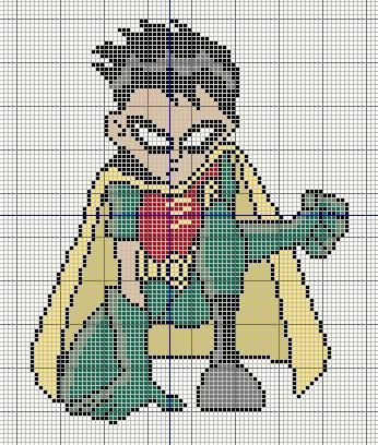 Buzy Bobbins: Robin from Teen Titans cross stitch design