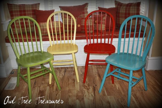 Distressed Farm Chairs Set by OwlTreeTreasures on Etsy, $80.00