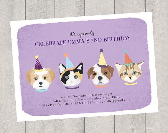 9 best Puppy Kitty Birthday Party images – Puppy Dog Birthday Invitations