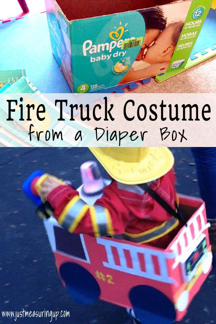 Toys toy boxes and fire trucks on pinterest - Making A Fire Truck Halloween Costume From A Diaper Box With Sound And Lights