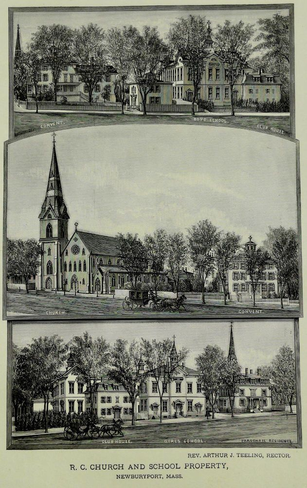 1888 Engraving Church Of Immaculate Conception Newburyport Ma. History Genealogy