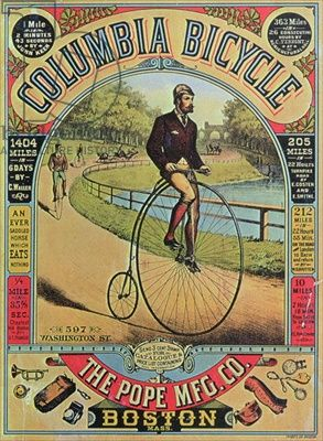 Advert for the Columbia Bicycle by The Pope MFG Co., Boston (colour litho), American School 19th century / Smithsonian Institution, Washington D.C.