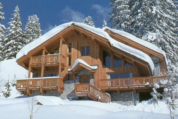 Chalet-style house in winter