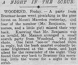 Benjamin Family History in the News:  Misadventures in the Australian Bush  The Argus  Melbourne, Australia  July 10, 1909