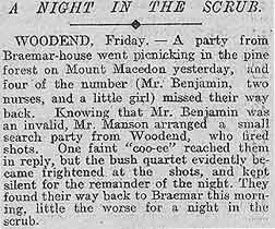 Benjamin Family History in the News:  Misadventures in the Australian Bush  The Argus  Melbourne, Australia  July 10, 1909