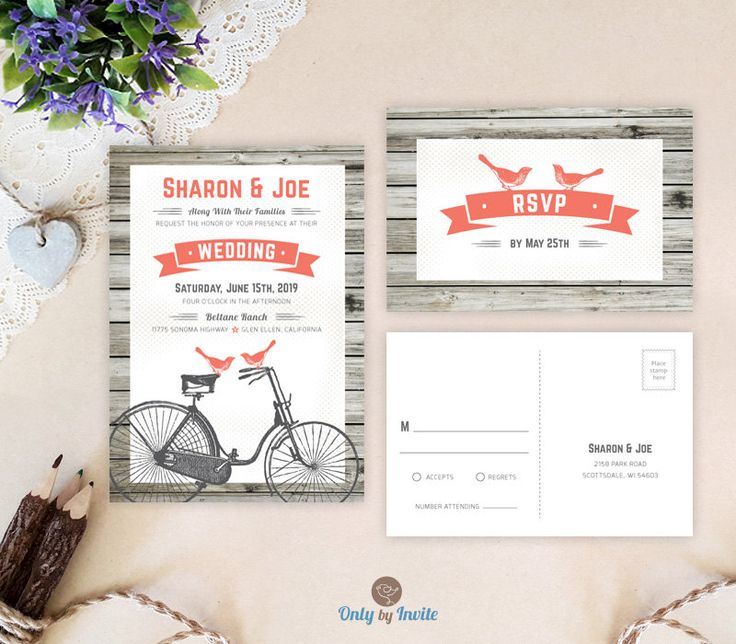 love bird on bicycle wedding invitation sets rustic country woodsy wedding invitations printed coral - Cheap Wedding Invitations Sets