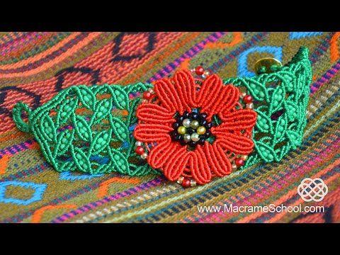 DIY Macramé Leaf Bracelet with Poppy - YouTube