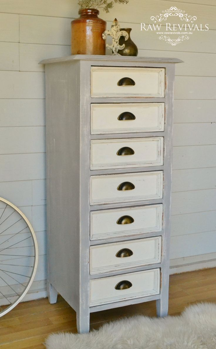 Rustic chest of drawers painted in ASCP Paris Grey and white drawers.  www.rawrevivals.com.au