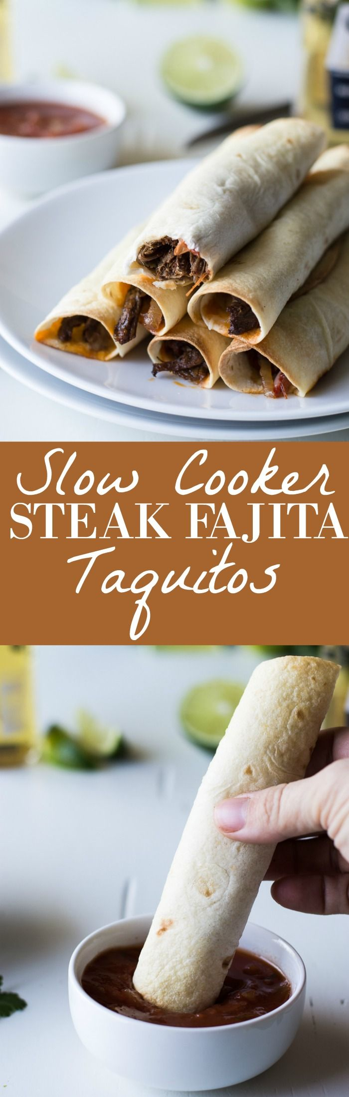 Slow Cooker Steak Fajita Taquitos recipe.  Flavorful fajita meat cooked in the slow cooker with peppers and onions then loaded into soft flour tortillas with cheese and baked!