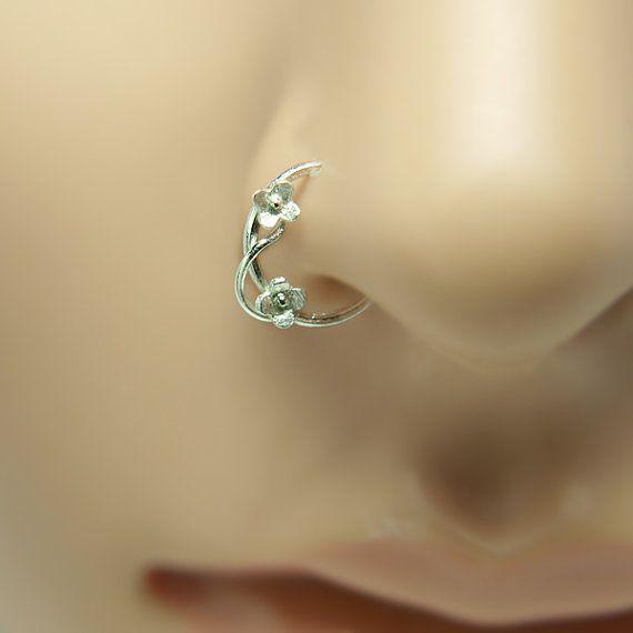 Nose Ring Flower motif Customize Sterling silver ,ring nose, nose rings, nose hoops,16 gauge,18 gauge,20 gauge,21gauge,nose piercing,