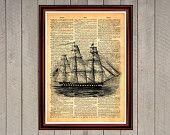 Ship captain crew pirats ocean sea cruise print Rustic decor nautica Cabin Vintage Retro poster Dictionary page Home interior Wall 0011