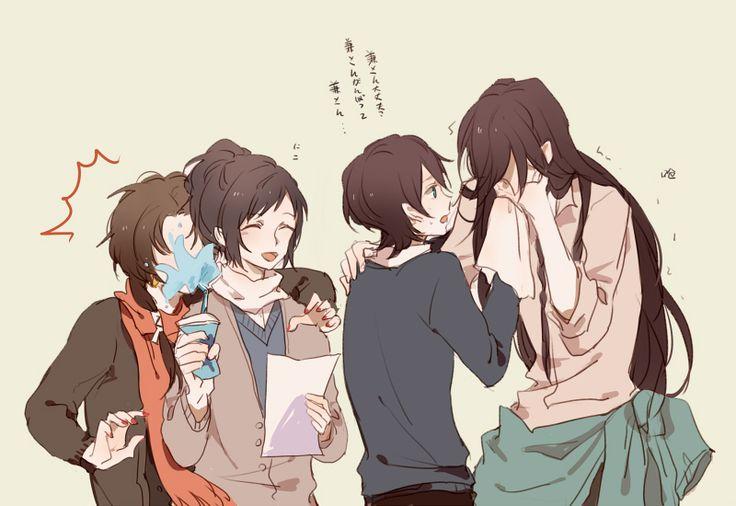 刀剣乱舞 touken ranbu Kashuu is trying to hug Yamato but fail :3