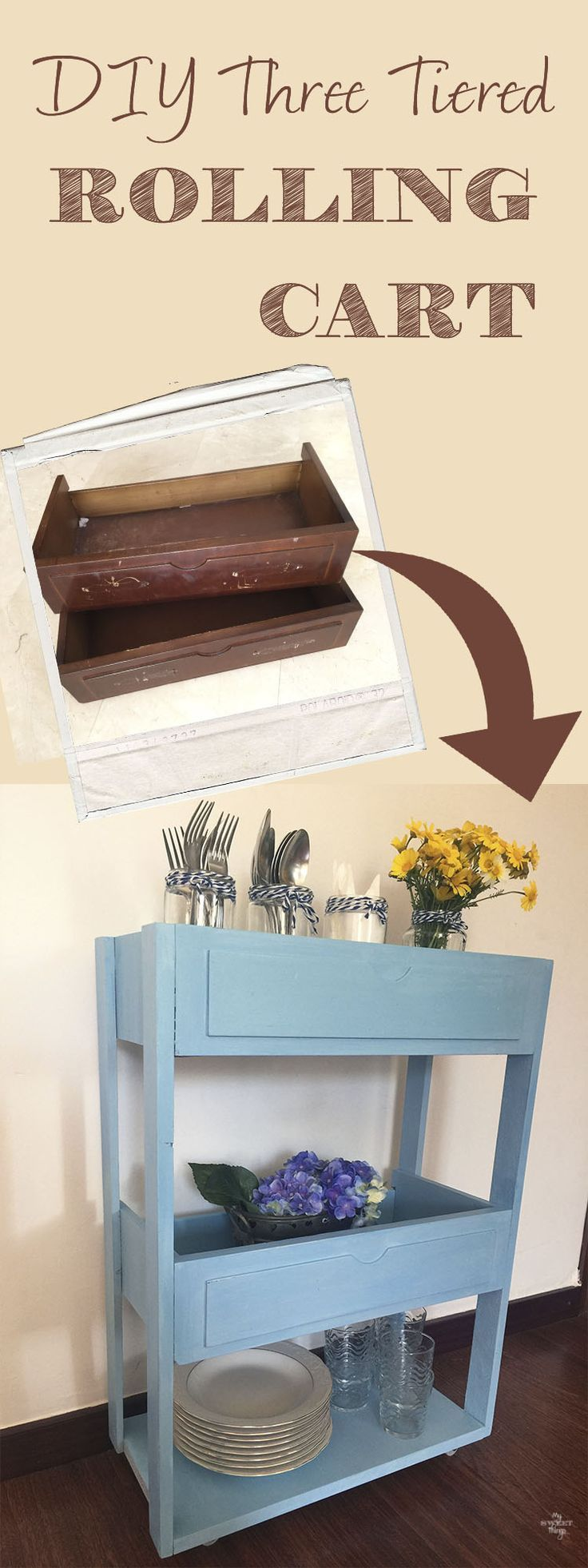 Rolling craft cart with drawers - Diy Three Tiered Rolling Cart Out Of Free Finds