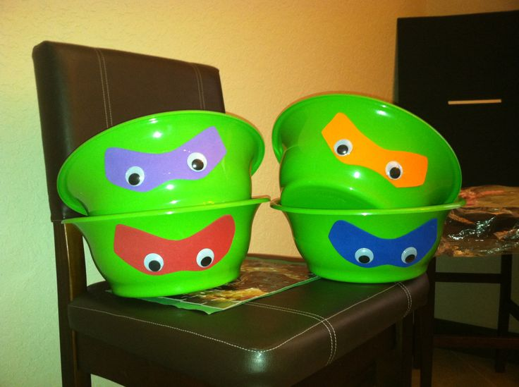 TMNT birthday party, bowls for food.  Can usually buy these at Dollar Tree!