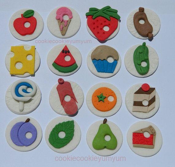 16 edible HUNGRY CATERPILLAR cupcake toppers by cookiecookieyumyum