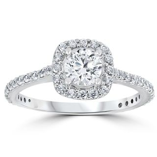 14k White Gold 1 1/5 ct TDW Round Diamond Cushion Halo Engagement Ring - Free Shipping Today - Overstock.com - 20088742    omg yes