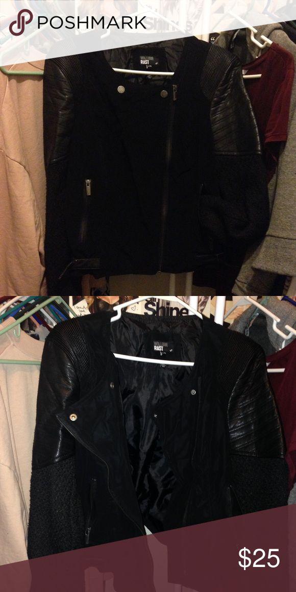 William Rast faux leather moto jacket Black faux leather jacket with mixed fabric William Rast Jackets & Coats
