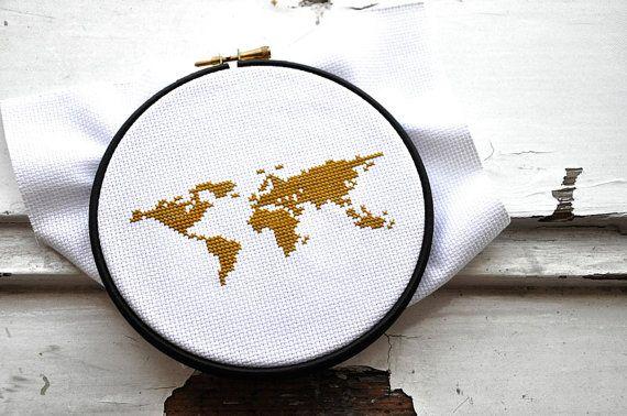 Modern world map cross stich pattern, earth globe america europe africa asia australia embroidery pattern, xstitch xstich crossstich pattern