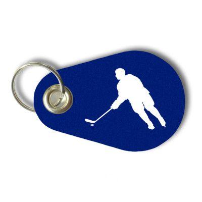 Schlüsselanhänger Eishockey Spieler. Filz Schlüsselanhänger mit Eishockey Spieler Aufdruck