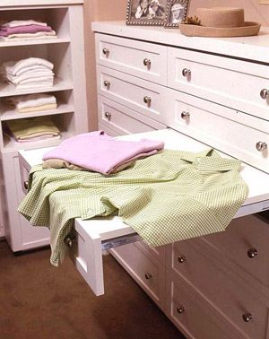 Great idea for closet organization. A folding station/drawer