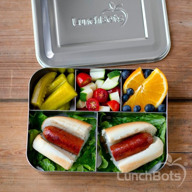 hot dog packed in the lunchbots bento cinco school. Black Bedroom Furniture Sets. Home Design Ideas