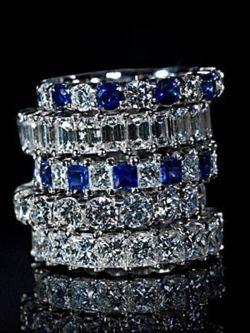 Diamond and Sapphire Wedding Bands.  www.kristoffjewelers.com #weddingband #anniversaryband