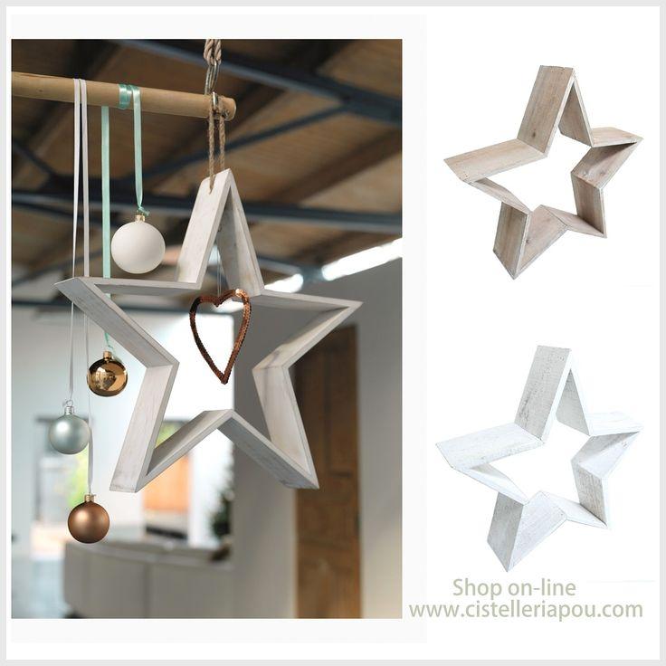 Estrellas de navidad estrellas decorativas en madera - Adornos navidenos elegantes ...