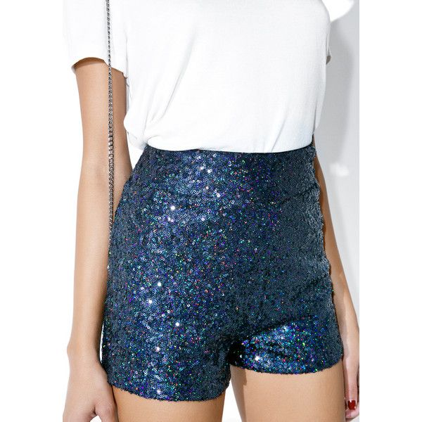 Arctic Tap Sequin Shorts ($42) ❤ liked on Polyvore featuring shorts, bottoms, colorful shorts, high-waisted shorts, colorful high waisted shorts, multi colored shorts and high rise shorts