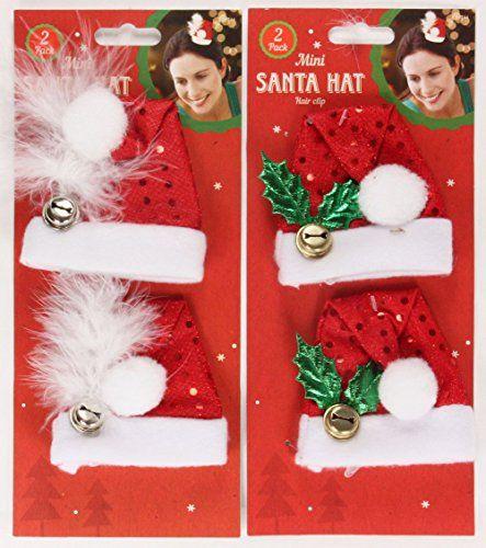 1x Lot de 2pinces à cheveux de Noël chapeau de Père Noël Houx ou Plumes: 1x Lot de 2pinces Père Noël-2designs-houx ou plumes.…