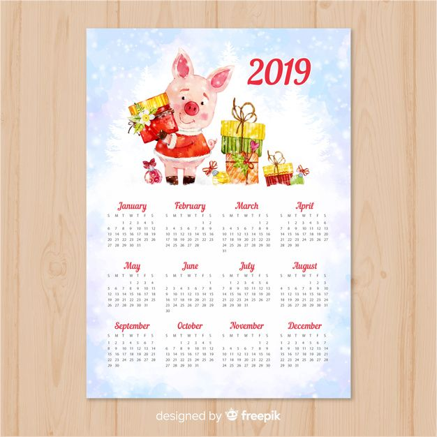 Download Watercolor Chinese New Year 2019 Calendar For Free