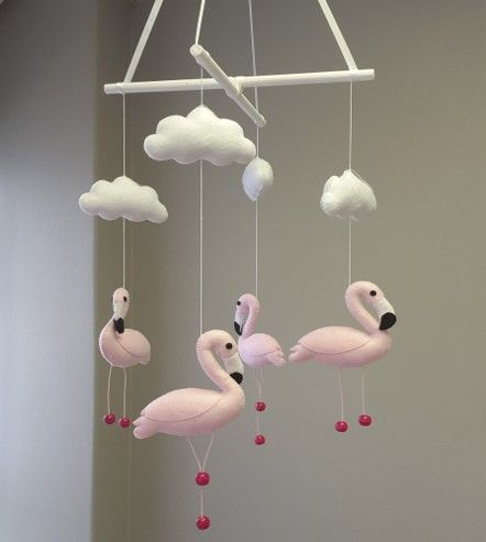 Our #FlamingoTheme  #BabyMobile is absolutely perfect for any #BabyGirl in #pink!   #BabyLinen #BabyBedding