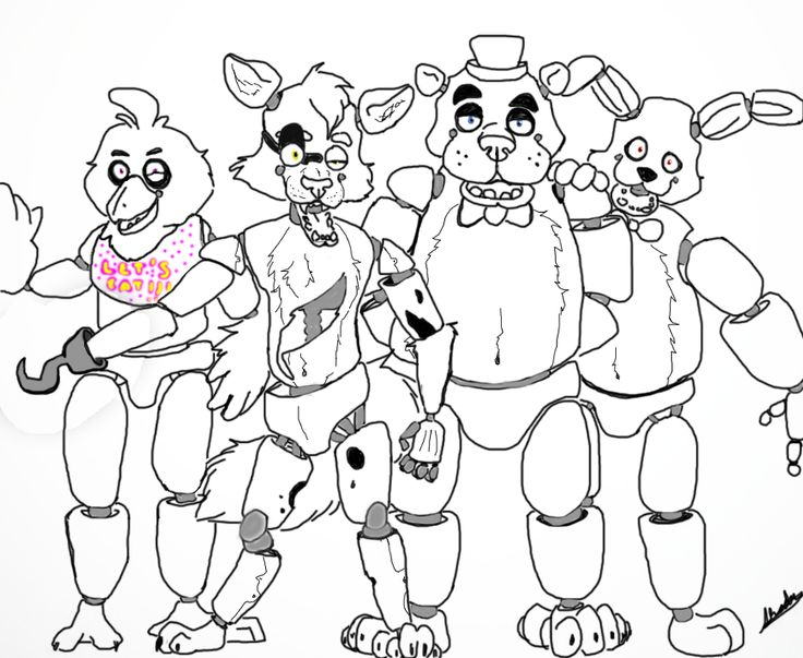 Clever image intended for five nights at freddy's printable coloring pages