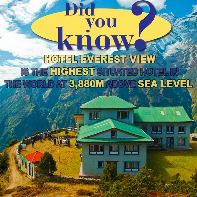 Did you know that Hotel Everest View is the highest situated hotel in the world? The hotel stands on a ridge 3,880m above sea level in Nepal's Sagarmatha National Park, from where you have a direct view of Mount Everest. #Hotel #DidYouKnow #NowYouKnow #FunFact #Amazing Thanks @EasyToBook for the awesome article!