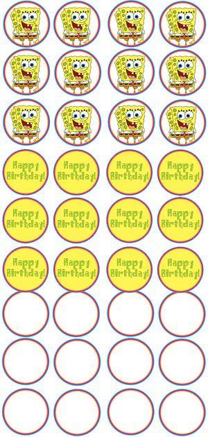 {free} Printable Spongebob Cupcake Toppers