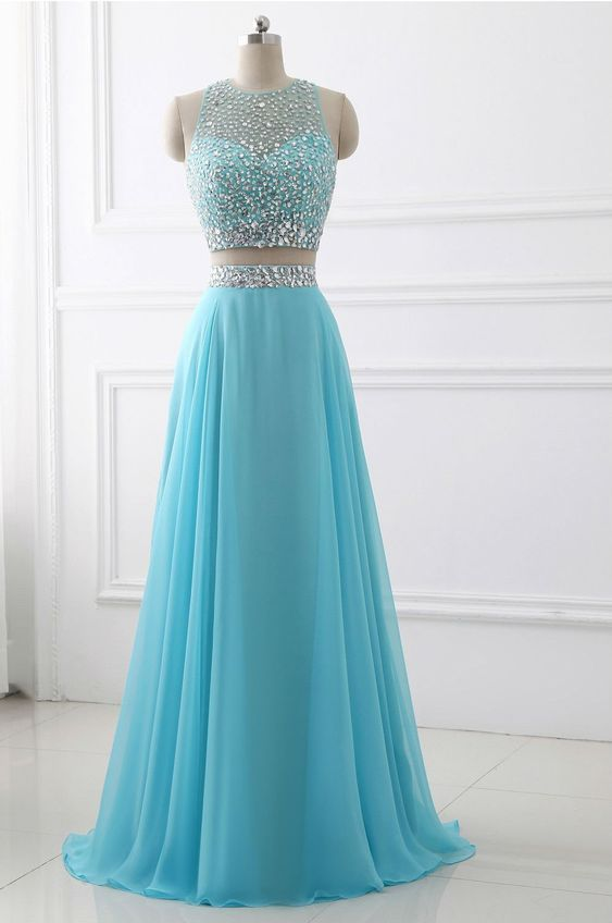 Blue Two Piece Chiffon Beaded Sparkle Long Prom Dress, Two Piece Junior Party Dress, Formal Gowns