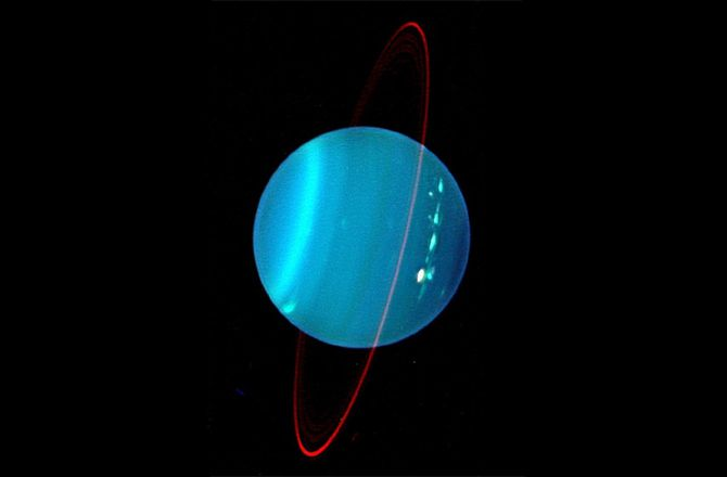 A Keck NIRC2 near-infrared camera captured this beautiful observation of the oddball Uranus